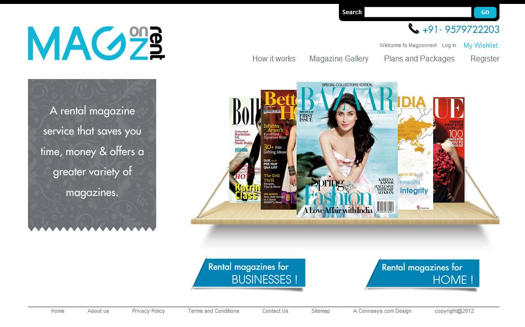 Magzonrent.com : ecommerce software and UI design : Connasys.com